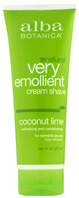 Moisturizing Cream Shave Coconut Lime 8 oz. Alba Botanica