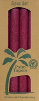 Unscented Palm Taper Burgundy 9 inch 4 Pack Aloha Bay