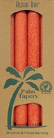 Unscented Palm Taper Dark Orange 9 inch 4 Pack Aloha Bay