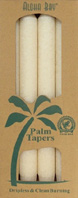 Unscented Palm Taper Ivory 9 inch 4 Pack Aloha Bay
