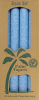 Unscented Palm Taper Light Blue 9 inch 4 Pack Aloha Bay