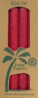 Unscented Palm Taper Red 9 inch 4 Pack Aloha Bay