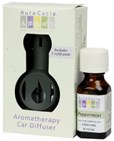 Aromatherapy Car Diffuser Commuter Pack Peppermint, 3 pc. Aura Cacia