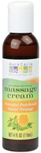 Aromatherapy Massage Cream Peaceful Patchouli Sweet Orange 4 oz. Aura Cacia