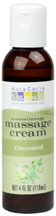 Aromatherapy Massage Cream Unscented 4 oz. Aura Cacia