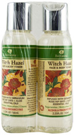 Witch Hazel Face & Body Toner Geranium Rose Hip Seed & Aloe Dual Pack, 2.25 oz. Bretanna