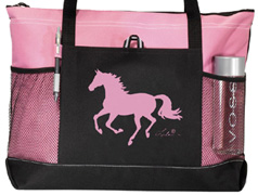 Lila Galloping Horse Tote Pink & Black