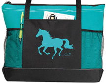 Lila Galloping Horse Tote Turquoise & Black