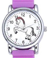 3D Kid's Watch Lavender White Horses