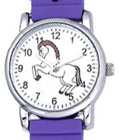 3D Kid's Watch Purple White Horses AWST