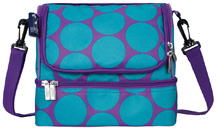 Double Decker Lunch Bag Big Dots Aqua Wildkin