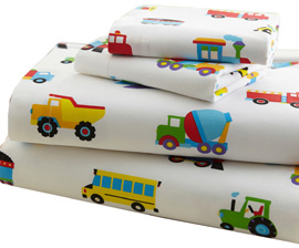 Microfiber Sheet Set Twin TRAINS. PLANES, TRUCKS