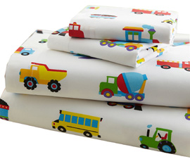 Cotton Full Sheet Set TRAINS, PLANES, TRUCKS