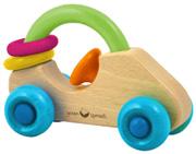 Natural Wood Rattle Car Green Sprouts