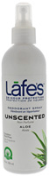 Spray Deodorant 24 Hour Protection Unscented Aloe 6 oz. Lafes