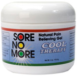 Sore No More Natural Pain Relieving Gel Cool Therapy 4 oz. Jar Sombra Cosmetics