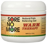 Sore No More Natural Pain Relieving Gel Warm Therapy 4 oz. Jar Sombra Cosmetics