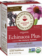 Seasonal Tea Echinacea Plus Elderberry 16 Tea Bags Traditional Medicinals