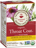 Seasonal Tea Throat Coat Lemon Echinacea 16 Tea Bags Traditional Medicinals
