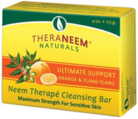 Neem Therape Cleansing Bar Soap Ultimate Support Orange & Ylang Ylang 4 oz. Theraneem Naturals