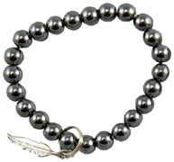 Art of Luck Friendship Bracelet Hematite Feather Charm Zorbitz Inc.