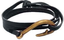 Hook & Co. Leather Bracelet Black / Bronze Hook Zorbitz Inc.