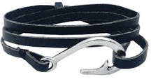 Hook & Co. Leather Bracelet Black / Silver Hook Zorbitz Inc.