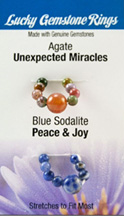Lucky Gemstone Rings Agate (Unexpected Miracles) / Blue Sodalite (Peace and Joy) Zorbitz Inc.