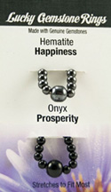 Lucky Gemstone Rings Hematite (Happiness) / Onyx (Prosperity) Zorbitz Inc.