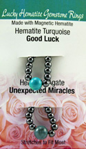 Lucky Gemstone Rings Hematite Turquoise (Good Luck) / Hematite Agate (Unexpected Miracles) Zorbitz Inc.